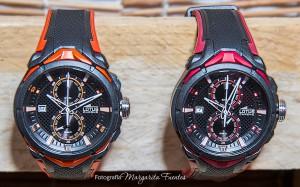 Nueva colección de relojes Lotus con caja de material plástico y correas de caucho.
