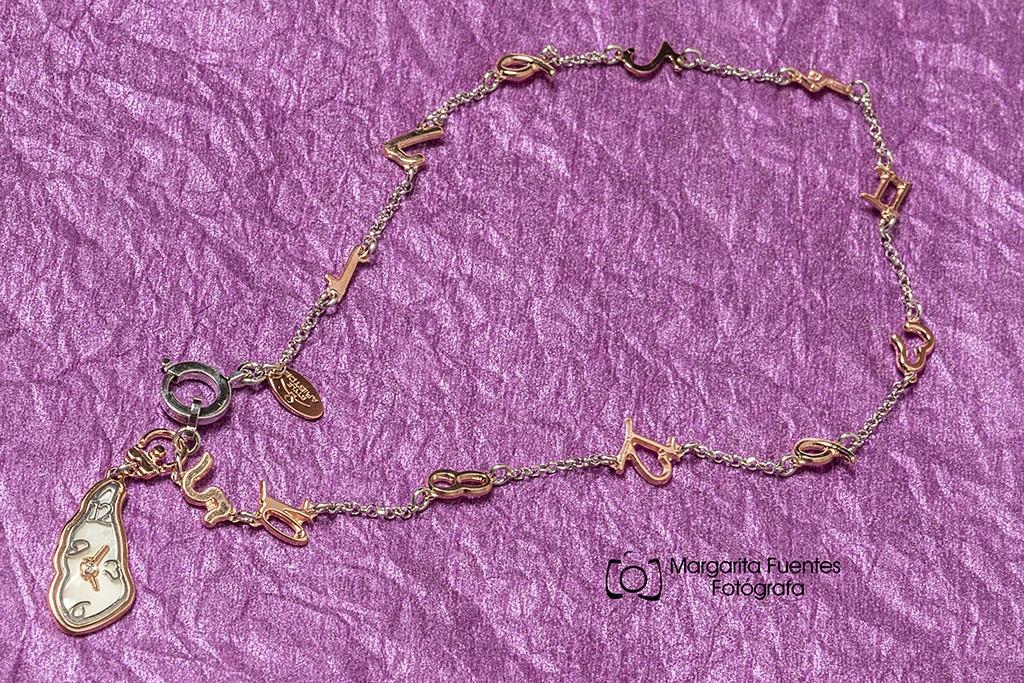 Pulsera plata combinada en chapado rosé con inspiración Gaudi