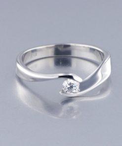 Anillo Diseño Oro Blanco Diamante 0,25 ct
