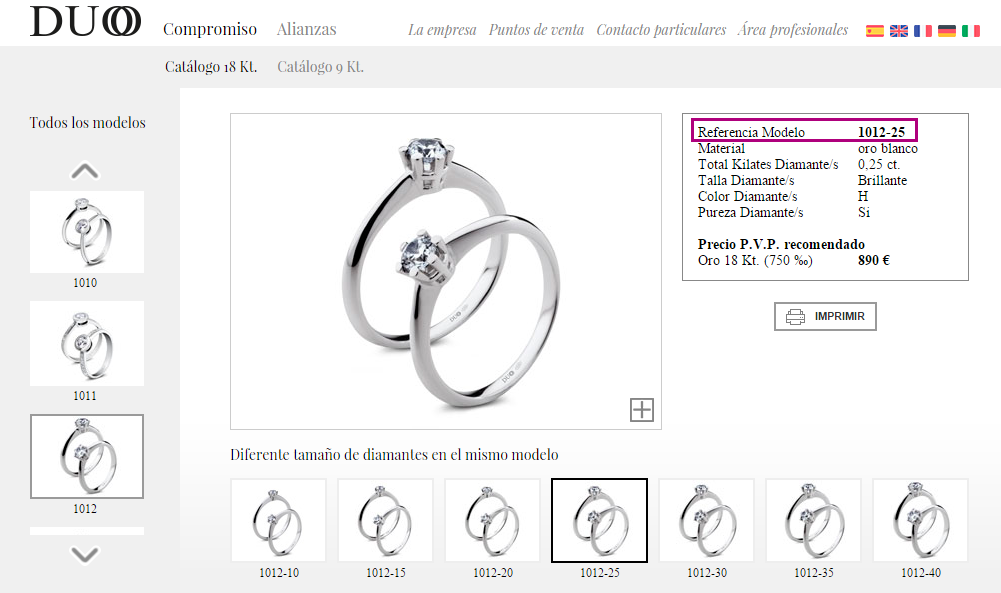 Selecciona el anillo de compromiso o arras del boda del catálogo de DUOO