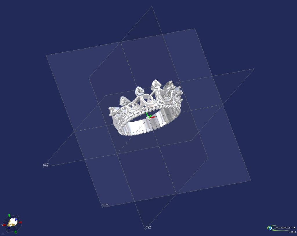 diseño sortija corona plata