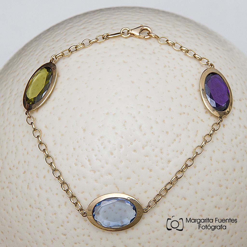 Pulsera Oro con Piedras Multicolor