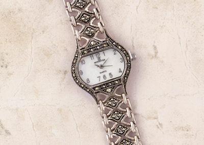Reloj plata y marcasitas
