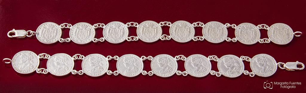 Pulsera plata monedas
