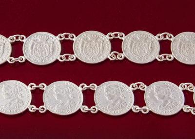 Pulsera monedas plata