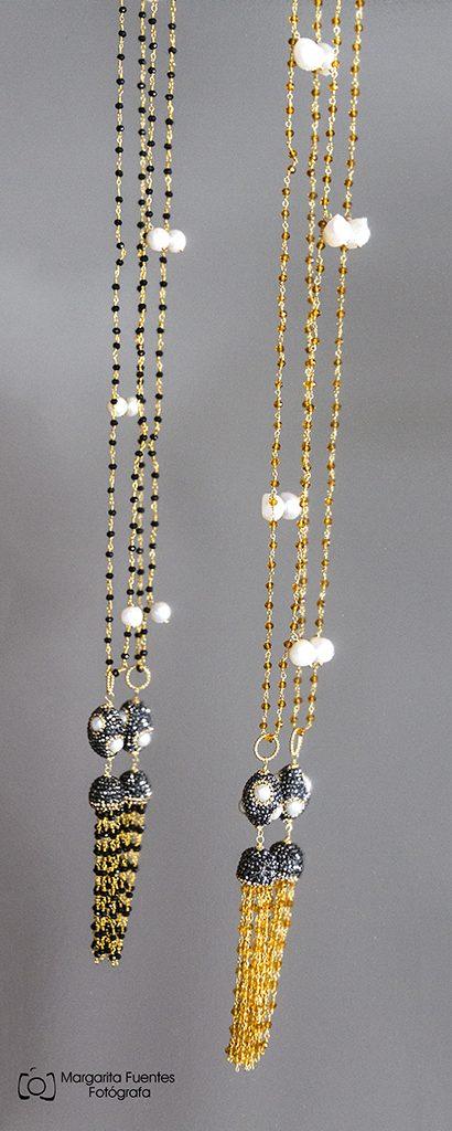 collares sol y luna, con perlas, citrino, onix y hematites.