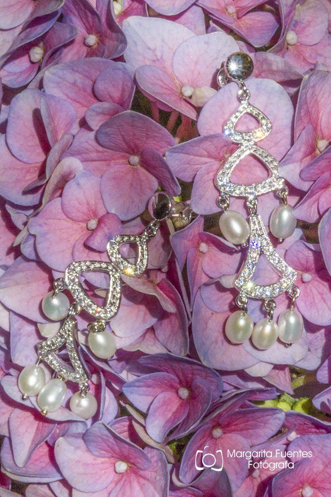 Pendientes oro blanco y perlas