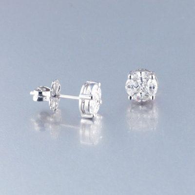 Pendientes Diamante Oro Blanco