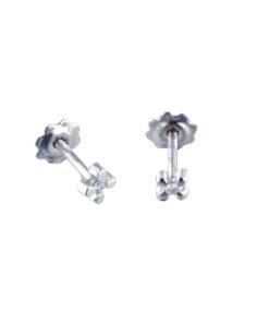 Pendientes Diamante Bebé Flor Oro Blanco 0,024 ct Dream Gems 346022