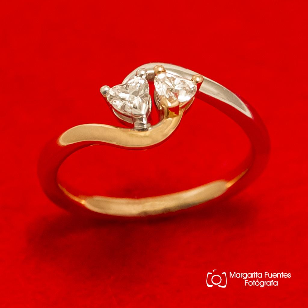 Corazones, diamantes, sortija, oro rosa, oro blanco