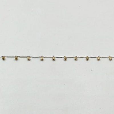 Tobillera Oro Blanco con Colgantes 000120010