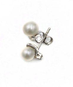 Pendientes Oro Blanco Circonita Perla 5 mm Argyor 75B0004Z