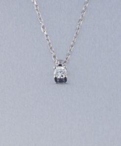 Collar, Colgante Oro Blanco Diamante con cadena