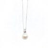 Colgante Oro Blanco Perla con Diamante y cadena