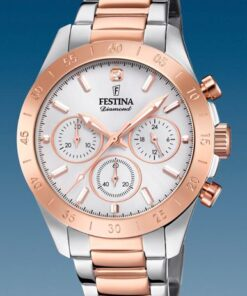 Reloj Festina Mujer Sumergible Crono Acero Armis Bicolor Rosé F203981