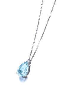Collar Aguamarina Oro Blanco Diamante0,025ct LECARRÉ GD034OB AG