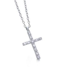Collar Cruz Oro Blanco Diamante 0,06ct LECARRÉ GD039OB 00