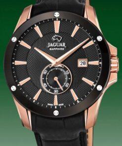 Reloj Hombre Acero Rosé Negro Correa Piel 44mm Jaguar Acamar J882/1