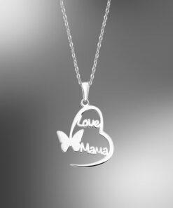 Lotus Silver Collar Plata Máma Amor Mariposa Mother´s Love LP3233-11